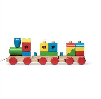 Melissa & Doug Wooden Jumbo Stacking Train 4-Color Classic Wooden Toddler Toy (17 pcs)
