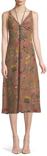 No.21 No. 21 Floral-Print V-Neck Silk Midi Dress with Jeweled Embellishment