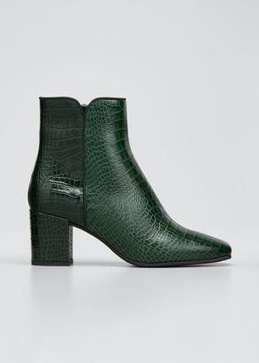 Aquatalia Denisse Moc-Croc Zip Ankle Booties