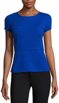 Liz Claiborne Short-Sleeve Textured Peplum Top - Tall