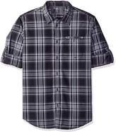 Calvin Klein Jeans Men's Check Roll Tab Long Sleeve Button Down Shirt