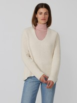 Frank and Oak Wool-Blend Deep-Round-Neck Sweater in Off White