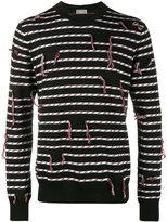 Christian Dior frayed stripe sweater - men - Virgin Wool - M