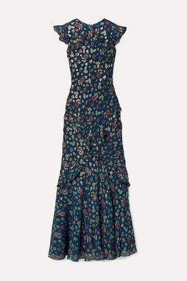 Saloni Tamara Ruffled Metallic Fil Coupe Silk-blend Georgette Maxi Dress - Blue