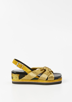 Dries Van Noten kaki knot sandal wedge