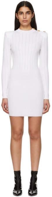 Balmain White Buttoned Knit Mini Dress