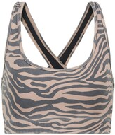 Thumbnail for your product : Adam Selman Sport Cross-Back zebra-print sports bra