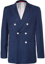 Isaia Blue Double-Breasted Super 130s Basketweave Wool Blazer