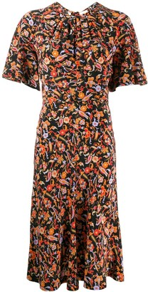 Derek Lam 10 Crosby Short Sleeve Paisley Print Midi Dress with Asymmetric Hem