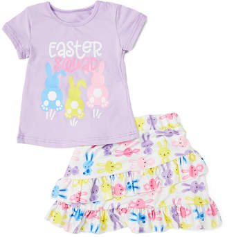 Royal Gem Girls' Casual Skirts Purple - Purple 'Easter Squad' Tee & Bunny Ruffle-Hem A-Line Skirt - Newborn & Infant