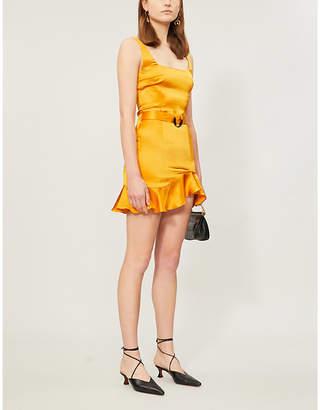 De La Vali Christabel ruffled-trim silk-satin mini dress