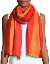 Neiman Marcus Ombre Herringbone Scarf, Red/Orange