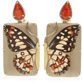 Silvia Furmanovich Rectangular Marquetry Butterfly Earrings