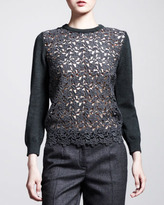 Dolce & Gabbana Lace-Front Pullover Sweater