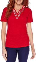 Sag Harbor Blue Shades Short-Sleeve Embroidery Top