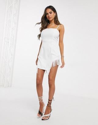 Saint Genies fringe detail mini dress in white