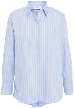 Sandro Pleated Crepe De Chine And Striped Cotton-blend Poplin Shirt