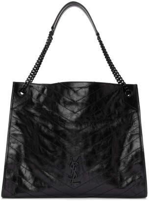 Saint Laurent Black Large Quilted Tote Bag