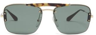 Prada Tortoiseshell-bridge Aviator Metal Sunglasses - Mens - Gold