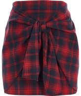 River Island Womens Red check tie front mini skirt