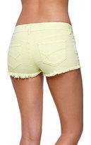 Bullhead Denim Co Low Rise Extreme Fray Hem Shorts