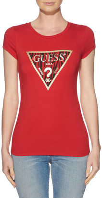 GUESS Short Sleeve Zebra R3 Logo Tee