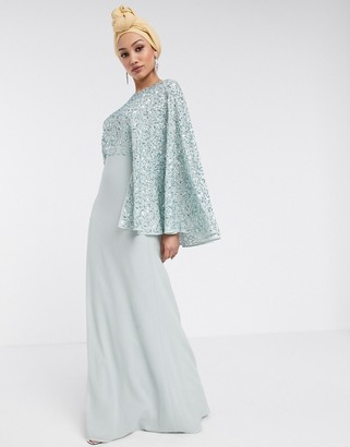 Maya Bridesmaid allover contrast sequin cape maxi dress in blue
