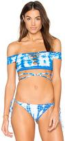 Frankie's Bikinis Frankies Bikinis Shiloh Top in Blue. - size L (also in M)
