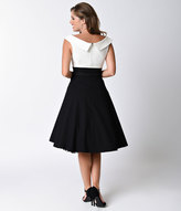 Unique Vintage 1950s Black & White Stretch Colorblock Tippi Swing Dress