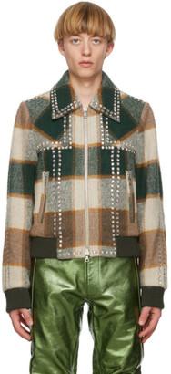 Dries Van Noten Green and Brown Check Vox Jacket