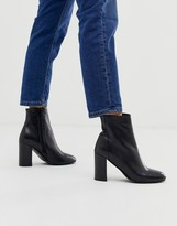 Asos DESIGN Rescue leather block heel boots in black
