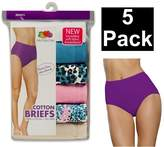 Fruit of the Loom Women's 5Pack Assorted Cotton Briefs Underwear Panties