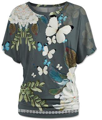 Udear UDEAR Women's Blouses Print - Gray & Green Floral Butterfly Dolman Top - Women & Plus