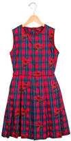 Oscar de la Renta Girls' Rose Print A-Line Dress