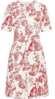 Oscar de la Renta Belted Floral-print Cotton-blend Boucle Dress