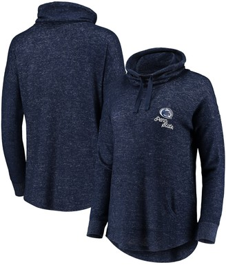 Women's Heathered Navy Penn State Nittany Lions Cuddle Cowl Pullover Sweatshirt