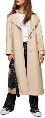 Topshop Erika Faux Leather Trench Coat