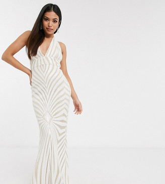 Club L London Petite geo sequin halterneck maxi dress in white