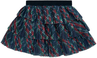 Mayoral Girl's Pleated Plaid Tulle Skirt, Size 6-36 Months