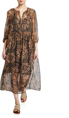 Johnny Was Jolene Printed Blouson-Sleeve Silk Maxi Dress