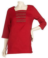 As Is Denim & Co. 3/4 Sleeve Stretch Twill Tunic Smocking Detail