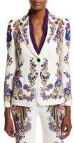Roberto Cavalli Bell Heather Printed Two-Button Jacket, White/Multi