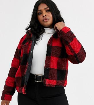 Brave Soul Plus tedd borg tartan check jacket-Red