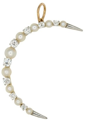 Stephanie Windsor Antique Platinum, 18K Yellow Gold, Diamond & 3MM Pearl Crescent Moon Charm