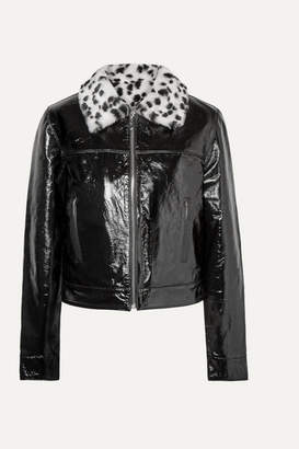 The Mighty Company - The Glencoe Leopard-print Faux Fur-trimmed Glossed Leather Jacket - Black