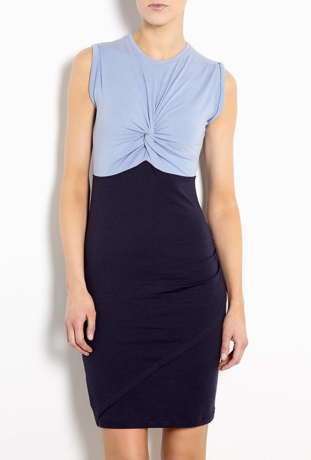 Carven Blue Twist Top Jersey Dress