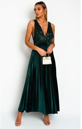 IKRUSH Cassandra Pleated Velvet Sequin Maxi Dress