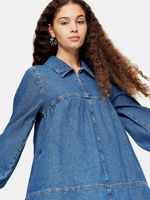 Topshop Denim Babydoll Dress - Blue