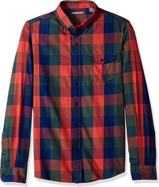 Michael Bastian Men's Long Sleeve Buffalo Indigo Plaid Woven Shirt Large