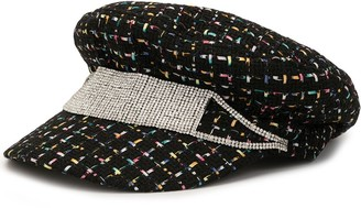 Venna Crystal-Strap Tweed Baker Boy Hat